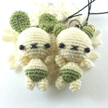 Set of 2 Mini Ivory+Green Rabbits Amigurumi Crochet Doll Cell Phone Charm with Black Beads Eyes // Petit, Little, Miniature Craft