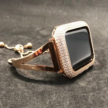 Apple Watch Band Bangle Cuff 38mm/40mm 42mm/44mm Rose Gold Womens Series 1 2 3 4 /Case Cover Bezel Lab Diamonds Crystals Iwatch Bling