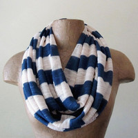 Striped Sweater Scarf  Infinity Circle Scarf  Blue by EcoShag