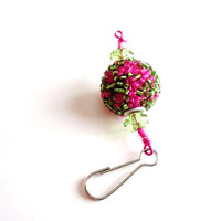 Hot Pink and Lime Green Zipper purse backpack pull clip