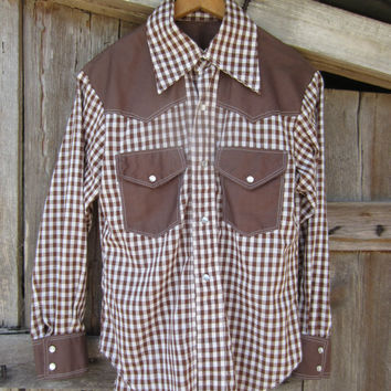 80s Homemade Cowgirl Shirt, Women's S-M  // Vintage Checked Country Western Shirt // Cowboy Shirt