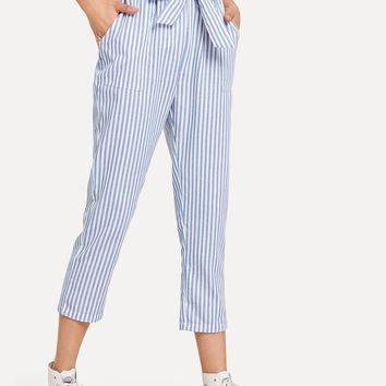 Striped Knot Front Pant