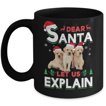 DCKIJ3 Dear Santa Funny Yellow Labrador Puppies Christmas Gift Mug
