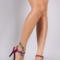Qupid Short Stacked Fringe Ankle Strap Heel