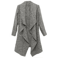 Grey Drape Open Front Long Sleeve Asymmetric Coat
