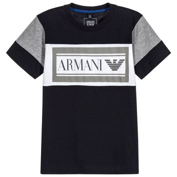 Armani Boys Navy Blue Logo T-shirt