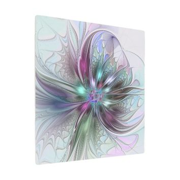 Colorful Fantasy Abstract Modern Fractal Flower Metal Photo Print