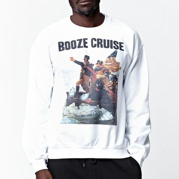 Riot Society Booze Cruise Crew Neck Sweatshirt - Mens Hoodie - White