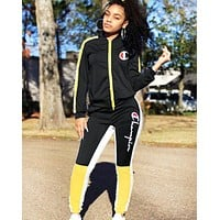 Champion Autumn And Winter Fashion New Letter Sports Leisure Long Sleeve Top And Pants  Two Piece Suit Black