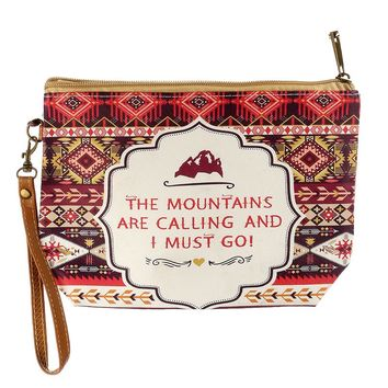 Mulit Color Tribal Print Message Vinyl Wrist Wallet Bag Accessory