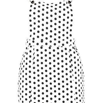 Polka Dot Denim Pinafore Dress | Boohoo