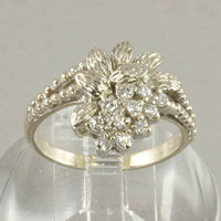 Fine Estate Jewelry - 14K White Gold And Diamond Ring with Floral Design
