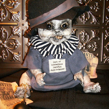 Lonesome Criminal Little Monster OOAK Altered Art Horror Scary Creepy Cryptic Repurposed Salvage Prop Doll