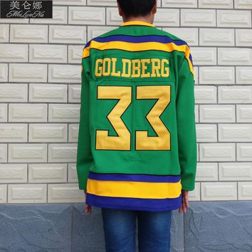 Mighty Ducks Movie Jerseys #33 Greg Goldberg Jersey 3301 Green Ice Hockey