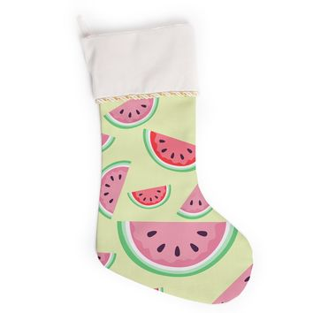 "afe images ""Watermelon Background"" Pink Food Christmas Stocking"