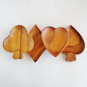 Wooden Playing Cards Snack Serving Bowl Set