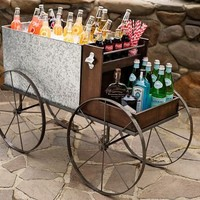 Galvanized Metal Caravan Bar Cart