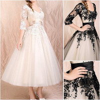 Champagne Black Lace Short Bridal Wedding Gown Tea Length 3/4 Sleeve Wedding Dress Custom Formal Gown Prom Dress