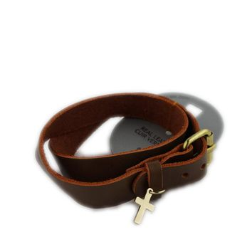 European and American jewelry fashion wild cross leather bracelet female belt buckle jewelry promotional accessories FM