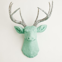 Faux Deer Head - The Agnes - Seafoam Green W/ Silver Glitter Antlers Resin Deer Head- Stag Resin White Faux Taxidermy