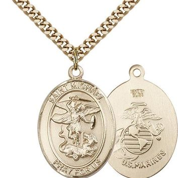 14K Gold Filled St Michael Marines Military Soldier Catholic Medal Necklace 617759790986