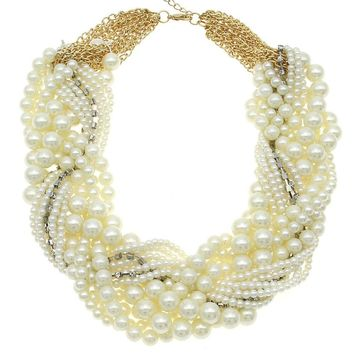 Dafosi Ladies Imitation Pearl Necklace Fashion White Beads Rhinestones String Women Collar Chokers Necklaces Statement Jewelry
