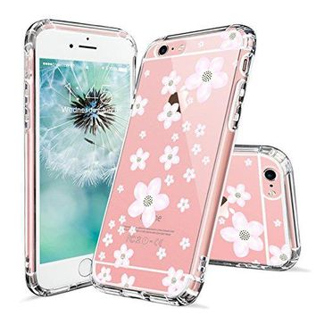 iPhone 6 Case, iPhone 6s Clear Case, MOSNOVO Pink Cherry Blossom Floral Printed Flower Clear Design Transparent Plastic Hard Back with TPU Bumper Protective Case Cover for Apple iPhone 6 6s (4.7 Inch)