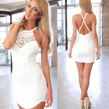Fashion  Bodycon Lace Halter Hollow Strap Crisscross Backless Mini Dress