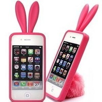 Pink-Rabito Bunny Ears and Tail case for iPhone 4 and 4s