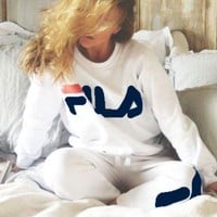FILA Print Woman Men Long Sleeve Top Sweater Pullover