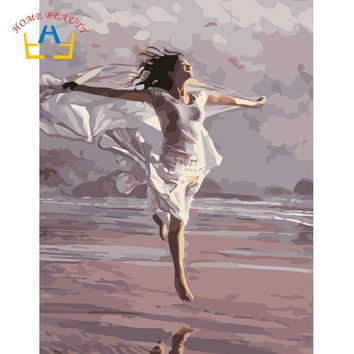 Seaside dancing women pictures by numbers on canvas with acrylic paints wall art paintings for the kitchen home decor WR027