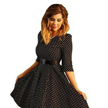 Charm Your Prince Womens Black 1950s Polka Dot Rockabilly Swing Pinup Vintage Dress Large Black