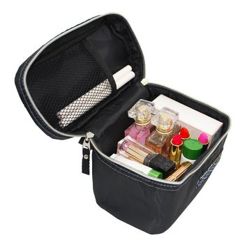 Black Men's Women's Travel Wash Cosmetic Bags Male Double Layer Makeup Cases Toiletry Vanity Organizer Pouch Accessories Supply