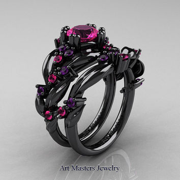 nature classic 14k black gold 10 ct pink sapphire amethyst leaf and vine engagement r - Black And Pink Wedding Ring Sets