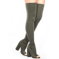 SHAYLA LYCRA THIGH HIGH BOOT - OLIVE