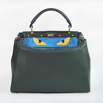 fendi women s fashion green classic leather shoulder tote handbag bag