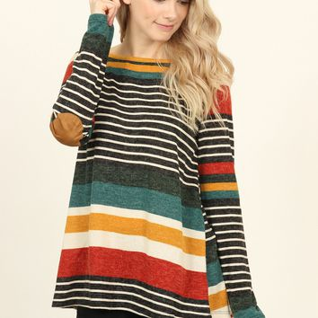 Buttoned Back Elbow Patch Striped Sweater