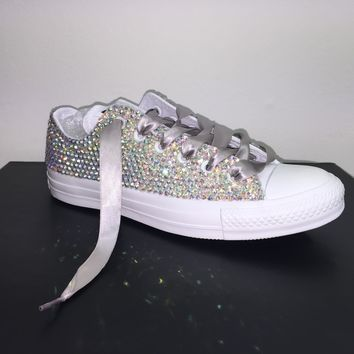 All Star Mono White Converse Bedazzled In AB Crystals Silver Laces
