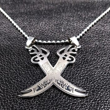 Retro Imam Ali Sword Muslim Islam Knife Necklace Jewelry Stainless Steel Arabic Pendant Necklaces For Men Women jewlery N612242B