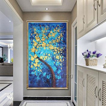 Tree flower Original Painting acrylic floral paintings on Canvas Gold Blue heavy texture Abstract large Wall Art Pictures for living room
