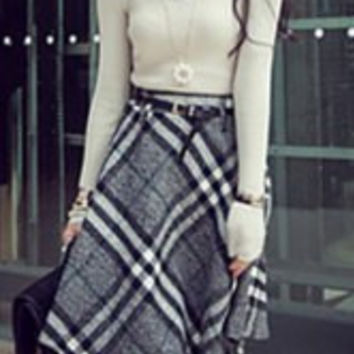 White and Black Long Sleeve Sweater and Plaid Skirt Twinset