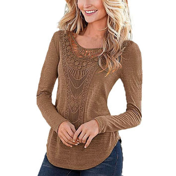 2016 Autumn New Women T Shirt Casual Sexy Slim Basic Solid Tops Lace Crochet Long Sleeve Womens Tee