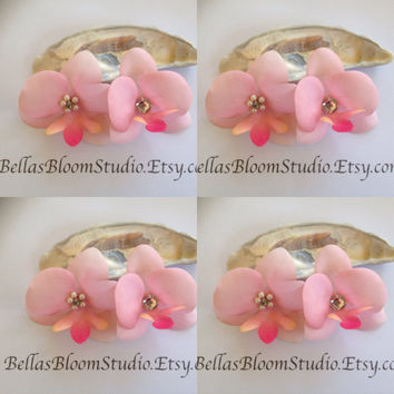 Bridal hair flower, Pink hair pins, wedding hairpiece, pink bridal hair clip, Blush pink hair clip orchid hair clip Pale pink clips etsy