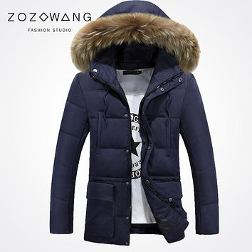 Zozowang new 2017 solid hooded faux fur collar winter jacket men loose fashion keep warm zipper pocket winter coat men navy
