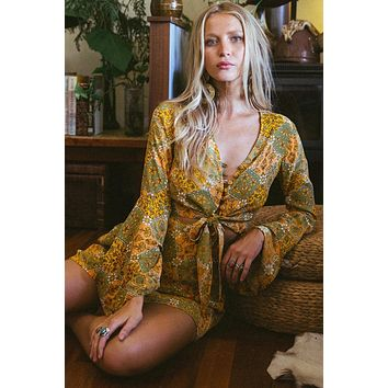 Retro Yellow Floral Bell Sleeve Front Knot 2 Pcs Dress