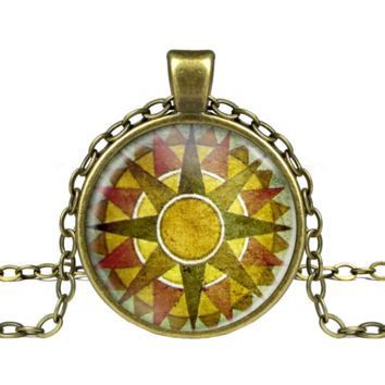 Yellow Mustard Compass Necklace