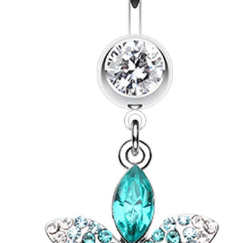 Radiant Spring Beauty Flower Belly Button Ring