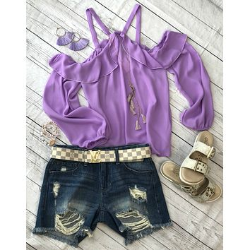 Stay Where We Are Cold Shoulder Top: Lavender