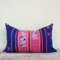 "Vintage Cotton Tribal Hand Print Patch Work Pillow Case 15.5"" x 25.5"" Pieces Of Retro Tribal Costume"