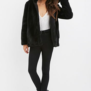 Contemporary Faux Fur Hooded Jacket